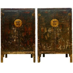 Pair of 19th Century Black Lacquered Chinese Cabinets in Original Condition