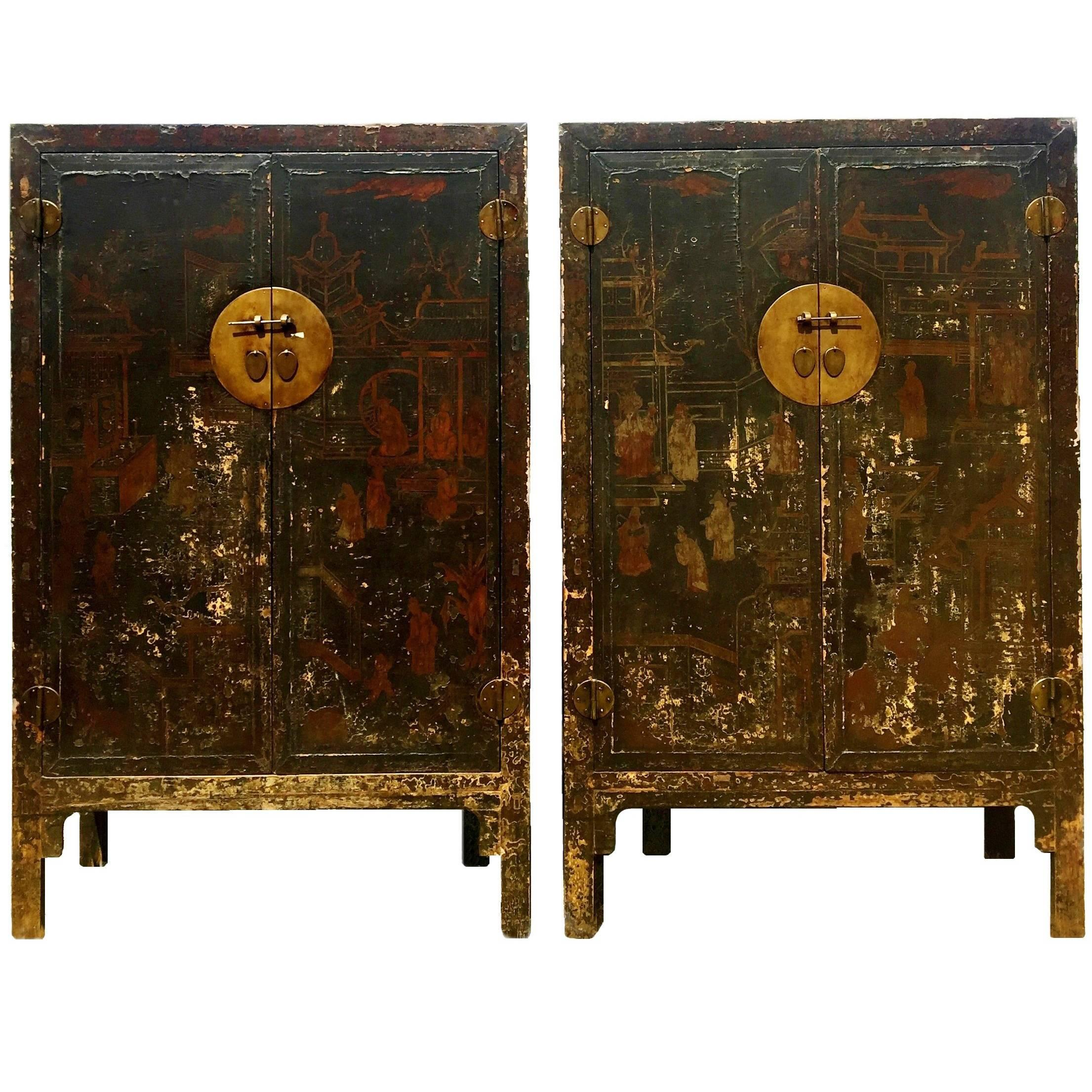 Pair Of 19th Century Black Lacquered Chinese Cabinets In Original Condition  For Sale