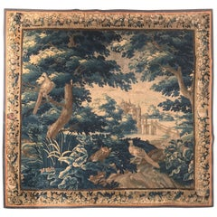 Large 18th Century French Aubusson Verdure Tapestry with Trees Birds and Castle