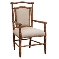 Single English Faux-Bamboo Turn of the Century Upholstered Armchair