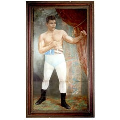 Large 1903 Framed Pastel of Heavyweight Champion