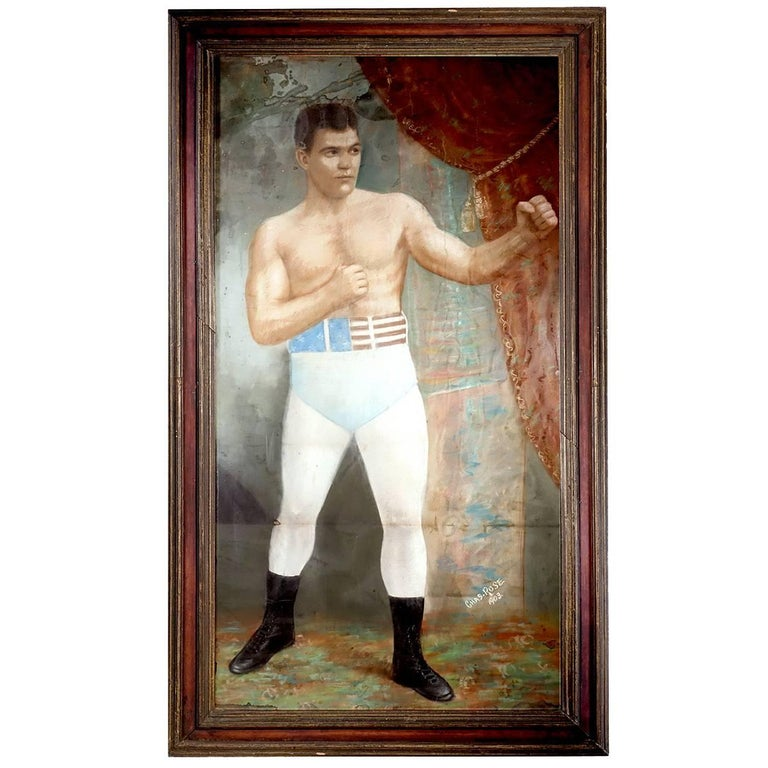 Large 1903 Framed Pastel of Heavyweight Champion 1