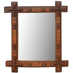 French Linear Small Size Tramp Art Mirror from the Turn of the Century