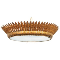 Spanish Two-Light Gilt Metal Crown Chandelier with Leaves and Frosted Glass