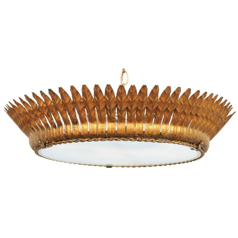 Spanish Two-Light Gilt Metal Crown Chandelier with Leaves and Frosted Glass For Sale