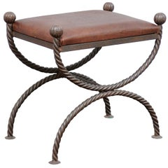 English Mid-Century Modern Curule Style Stool with Leather Seat and Iron Base