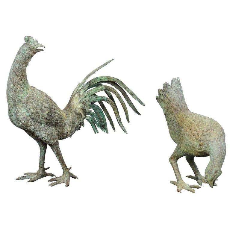 Pair of Italian Bronze Rooster and Hen Sculptures from the Mid-20th Century
