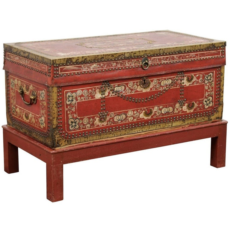 English Camphor Wood Trunk on Stand with Red Painted Leather and Floral Motifs