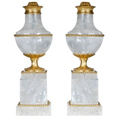 Pair of Louis XVI Style Gilt Bronze and Rock Crystal Urn Lamps