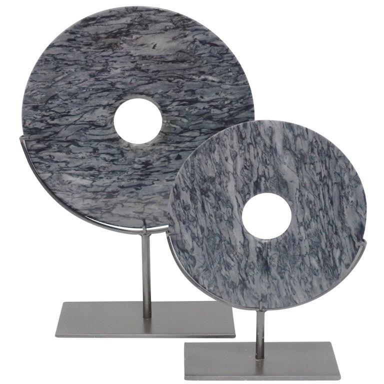 Grey Stone Disc Sculptures, China, Contemporary