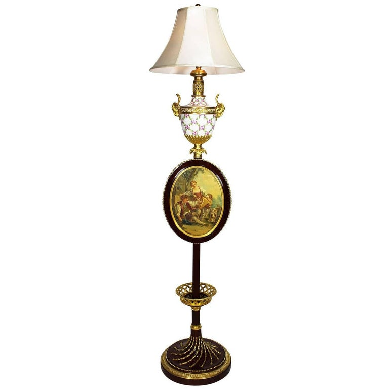 French 19th-20th Century Louis XV Porcelain Floor Lamp Attributed François Linke