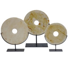 Set of Three Cream and Gold Stone Disc Sculptures, China, Contemporary