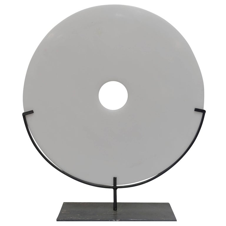 Large White Smooth Disc Sculpture, China, Contemporary