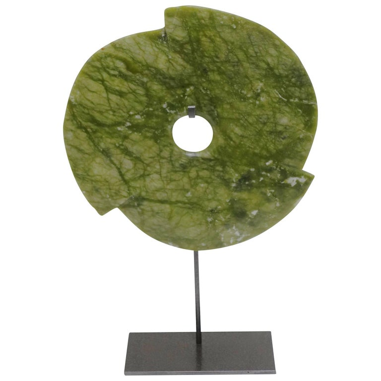 Lime Green Pinwheel Stone Disc Sculpture, China, Contemporary For Sale