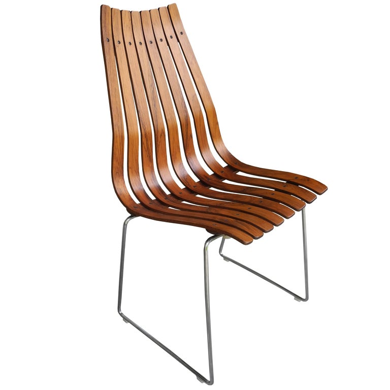 Single rosewood slatted norwegian chair by hans brattrud for Furniture hove