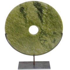 Lime Green Round Stone Disc Sculpture, China, Contemporary