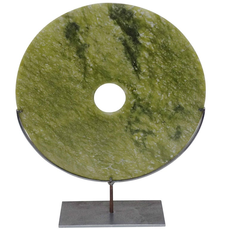 Lime Green Round Stone Disc Sculpture, China, Contemporary 1