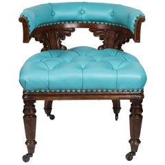 Antique William IV Chair in Mahogany and Turquoise Leather
