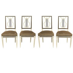 Maison Jansen Louis XVI Style Lyre Back Dining Chairs, Set of Four