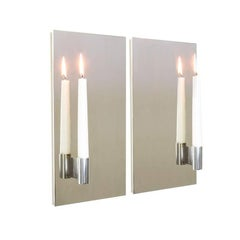 Matched Pair of Mirror Polished Stainless Steel Candle Wall Scones
