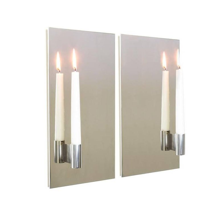 Contemporary Pair of Mirror Polished Stainless Steel Candle Wall Scones In Stock For Sale