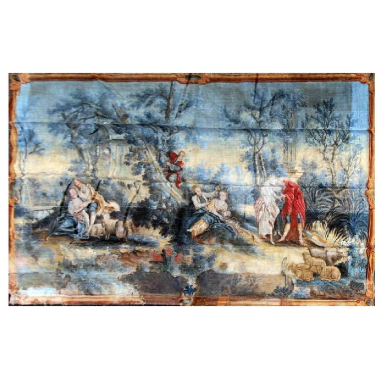 Large Tapestry Style 19th Century Rococo Wall Hanging For Sale