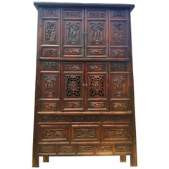 Monumental 8 Feet Tall Chinese Antique Cabinet, Fully Carved