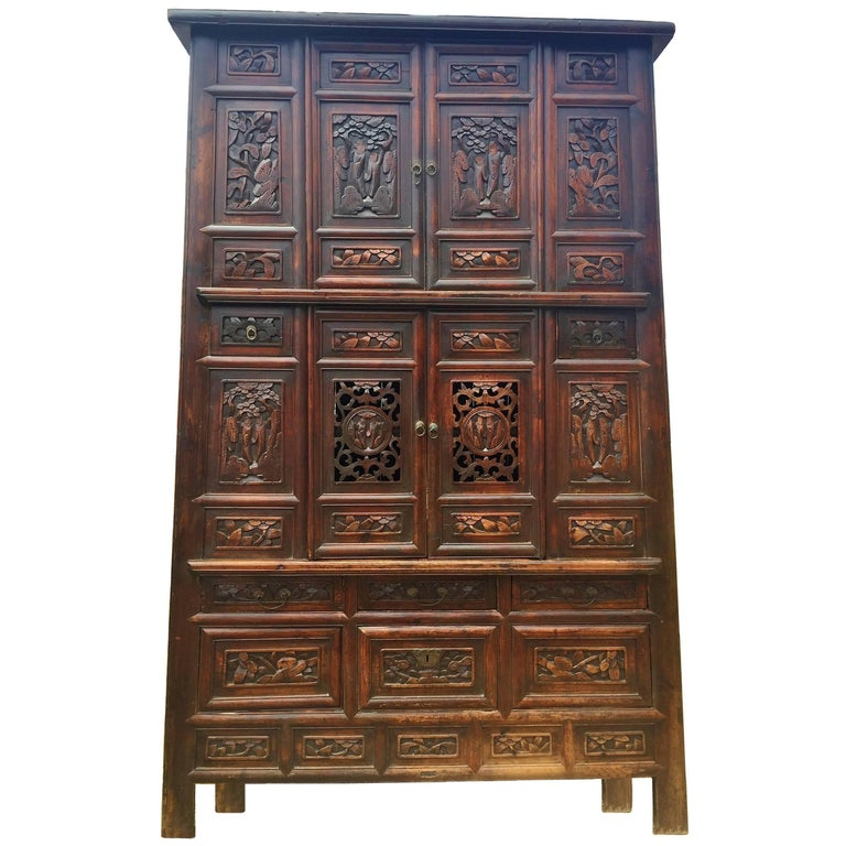 Monumental 8 Feet Tall Chinese Antique Cabinet, Fully Carved For Sale - Monumental 8 Feet Tall Chinese Antique Cabinet, Fully Carved For