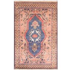 Rare Antique Silk Rug, Unusual Design