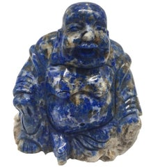 Natural Lapis Lazuli Buddha, Happy Buddha, Hand-Carved