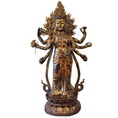 "Gilded Bronze Tibetan Multi Armed Avalokitesvara Statue 53"" Tall"