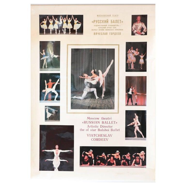Vintage Russian Ballet High Glossy Soviet-Era Poster, 1980s Bolshoi / Gordeev For Sale