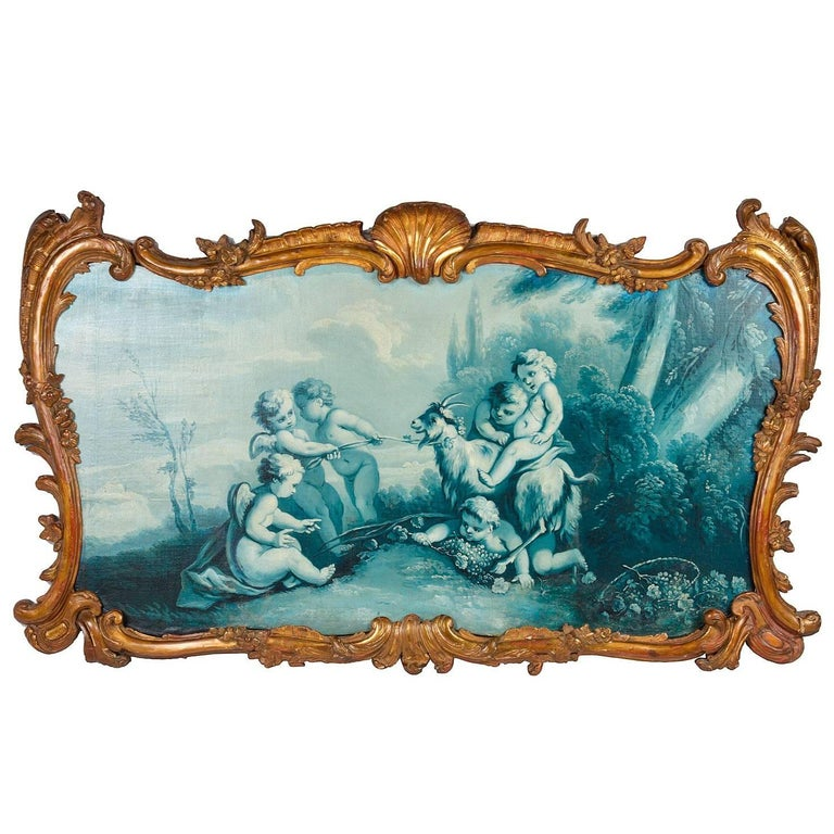 Classical 19th Century Oil on Canvas Painting of Cherubs