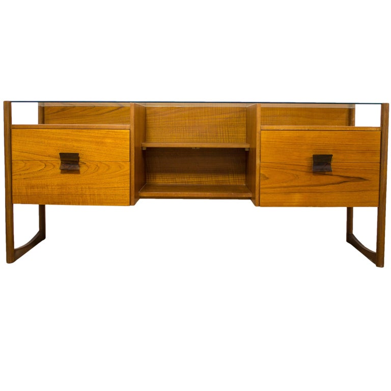 Danish Teak Glass Topped Desk Dressing Table G Plan Eames