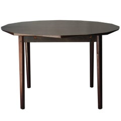 Midcentury Modern Geometric Brown Rosewood Extensible Italian Dinning Table 1950