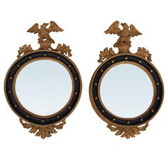 Pair of 20th Century, circa 1950, Italian Convex Mirrors, Stamped Made in Italy