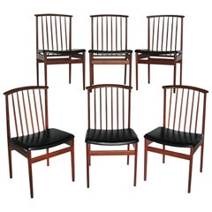 Set of Six Mid-Century Teak Dinning Chairs by DUX
