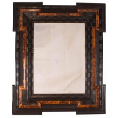 Baroque Style Ebony and Faux Tortoise Mirror Baltic States, circa 1880