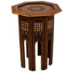 Turkish Inlaid Table, Mixed Woods and Mother-of-Pearl, circa 1900