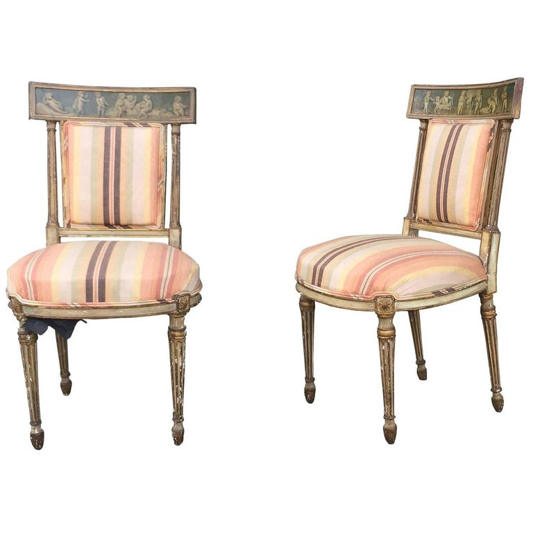 Pair of 19th Century English Painted Chairs with Striped Upholstery 1