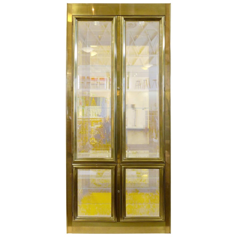 Brass-Clad Vitrine by Mastercraft 1