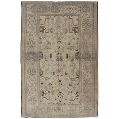 Vintage Turkish Oushak Rug with All-Over Sub-Geometric and Tribal Design