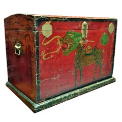 19th Century Tibetan Trunk, Blanket Chest, with Hand-Painted Qi Lin