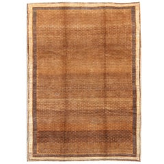 Vintage Turkish Rug with All-Over Modern Design in Brown and Cream