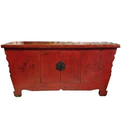 Red Lacquer Antique Chinese Chest, Solid Single Board Top, Brush Painting
