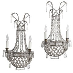 Pair of Antique French Crystal Sconces, circa 1920