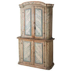 Swedish Rococo Period Original Painted Cupboard from Bergslagen, circa 1770