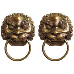 Brass Door Knockers Asian Lion Motif, Medium