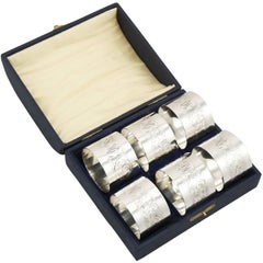 1920s Sterling Silver Napkin Rings, Set of Six