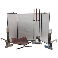 Complete Fireplace Set, Italian, 1960s, attributed to Danny Alessandro